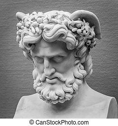 tête, sculpture ancienne, épaules, détail