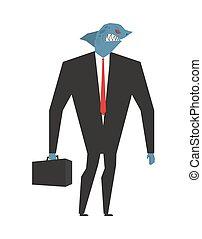 tête, serviette, business, predator., fish, mal, suit., profond, animal, homme affaires, cravate, shark., mer, avide