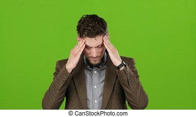 tête, sien, écran, tired., vert, souffrance, type, nuire, il