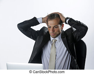 tête, sien, bureau, business, fatigué, inquiété, lieu travail, tenant mains, homme