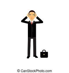 tête, sien, caractère, illustration, vecteur, tenant mains, homme affaires, frustré