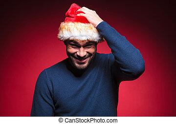 tête, sien, jeune,  Santa, Grattement, homme