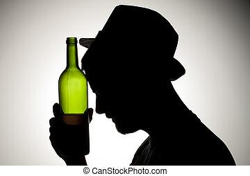tête, sien, silhouette, bouteille, tenir fermeture, vin, homme