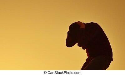 tête, sien, silhouette, désespéré, suicide., désordre, jeune...
