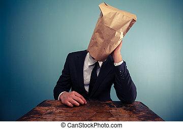 tête, sien, sur, triste, sac, homme affaires