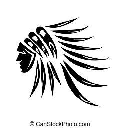 tête, silhouette, chef, indien, noir, conception, ton
