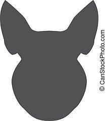 tête, silhouette, illustration, cochon, arrière-plan., vecteur, noir, blanc