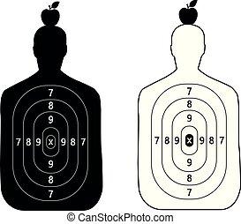 tête, silhouette, pomme, formulaire, deux, objectifs s'élance, homme