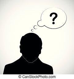 tête, silhouette, question, maladie, marque, alzheimer, humain, vieux, démence, homme