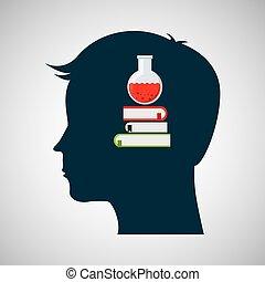 tête, silhouette, tube, chimique, livre, conception, essai