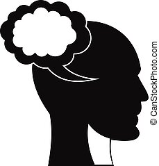 tête, simple, style, parole, humain, icône, bulle