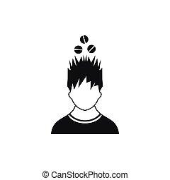 tête, simple, sur, style, tablettes, icône, homme