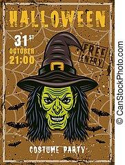 tête, sorcière, affiche, invitation, halloween, vecteur