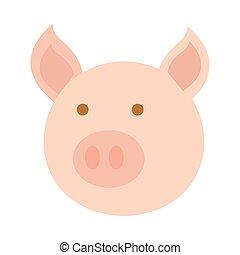 tête, style, dessin animé, plat, cochon, icône, animal, agriculture, ferme