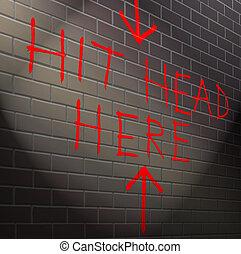 tête, succès, contre, wall., brique, ton