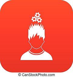tête, sur, métal, engrenages, homme numérique, rouges, icône