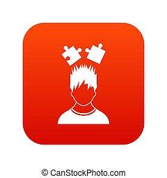 tête, sur, puzzles, numérique, icône, rouges, homme