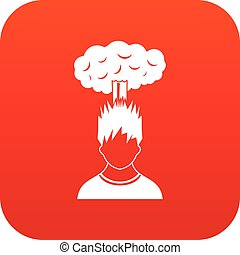tête, sur, rouges, homme numérique, nuage, icône