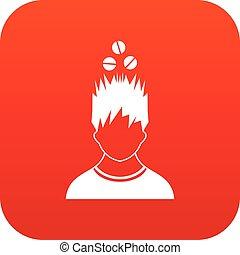 tête, sur, tablettes, numérique, icône, rouges, homme