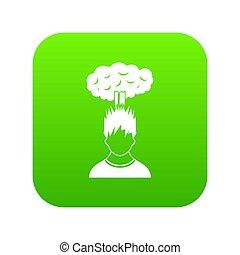 tête, sur, vert, nuage, homme numérique, rouges, icône