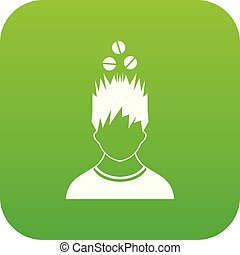 tête, sur, vert, numérique, tablettes, icône, homme