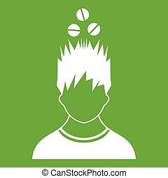 tête, sur, vert, tablettes, homme, icône