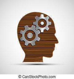 tête, symbole, métal, mind., engrenages, humain, head., icône