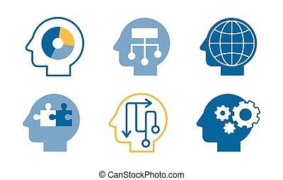 tête, têtes, idées, collection, leur, silhouettes, vecteur, illustration, humain, émotions, côté, pensées, vue