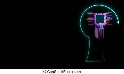 tête, technologie, traitement, autour de, énergie, futuriste, en mouvement, puissance, cellule, numérique, entiers, données, intelligent, puce