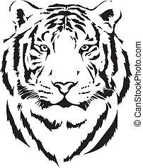 tête tigre, dans, noir, interprétation