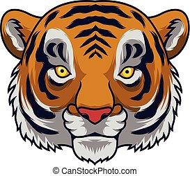 tête tigre, dessin animé, mascotte