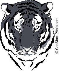 tête tigre, interprétation, gris, 4