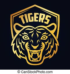 tête tigre, or, mascotte