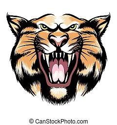 tête tigre, rugir