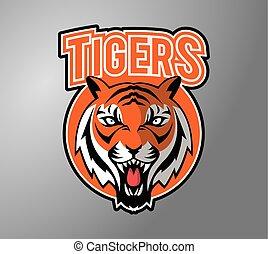 tête tigre, symbole, illustration