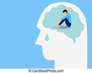 tête, triste, larmes, santé, , concept, cerveau, traitement, séance, illustration homme, maladie humaine, goutte, mental, développement, vecteur, malheureux