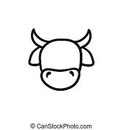 tête vache, icon., croquis