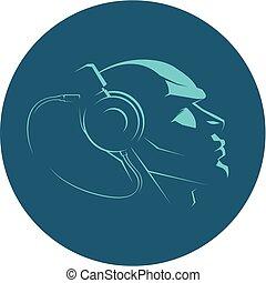 tête, vecteur, écouteurs, icône