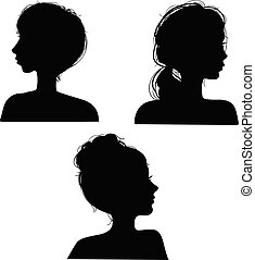 tête, vecteur, filles, silhouettes, illustration