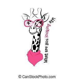 tête, vecteur, girafe, croquis, lunettes