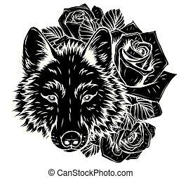 tête, vecteur, graphiques, illustration, sauvage, wolf.
