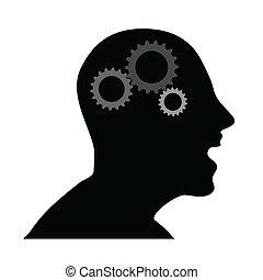 tête, vecteur, humain, engrenages, illustration