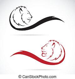 tête, vecteur, image, lion
