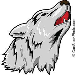 tête, vecteur, loup