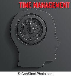 tête, vecteur, mécanisme, horloge