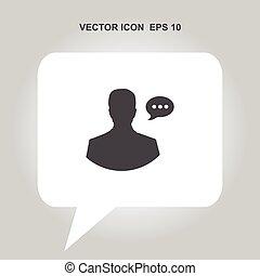tête, vecteur, parole, humain, bulle, icône