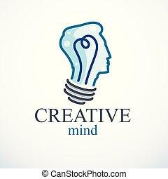 tête, vecteur, personne, esprit, pensée, intelligent, idée, créatif, forme, cerveau, clair, profile., brain-storming, ampoule, icon., homme, logo., concept