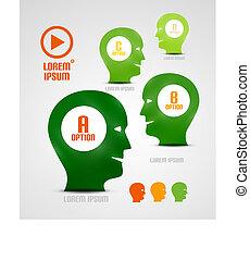 tête, vecteur, présentation, idées, gabarit