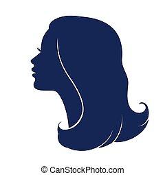 tête, visage femme, profile., femme, silhouette.