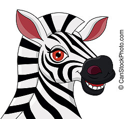 tête, zebra, dessin animé